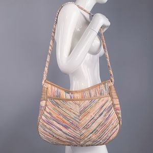 Vintage 70s Pastel Cotton Corde Huge Hobo Purse